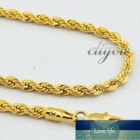 New Fashion Jewelry 4mm Mens Womens 18K Yellow Gold Filled Necklace Rope Twisted Chain Gold Jewellery DJN86 Factory price expert design Quality Latest