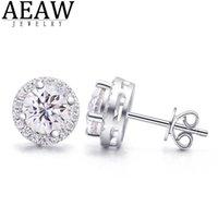 Aew 2ctw def def blanc diamant test passée moissanite argent boucle d'oreille bijoux gemstone petite amie cadeau Prix spécial pour les femmes