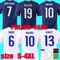 Fans Player versión 2021 2022 Francia Mbappe Griezmann Jersey de fútbol 22 22 Kante Thauvin Giroud Camisas de fútbol Pogba Benzema Maillot de Pie Tamaño S - 4XL