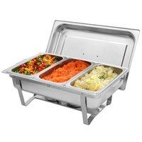 Tres conjuntos de platos de acero inoxidable estufa de buffet rectangular