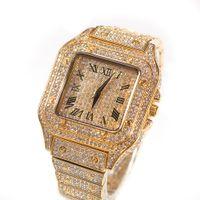 Höchststoff Hip Hop Trend Square Watch 316L Edelstahlgehäuse Abdeckung Voll Diamant Kristallbanduhren Quarz Armbanduhren Punkjewlery
