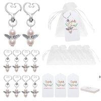 Angel Favour Keychains Merci tags Sacs-cadeaux Sacs-cadeaux Retour Précompense Baby Douche Douche Bridal Douche Cadeaux de mariage DHD6421