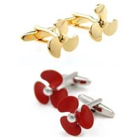 10pairs lot Shiny Gold Red Plating Fan links Propeller Links Copper Made Shirt Cuff Button Mens Jewelry