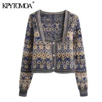 KPYTOMOA Women Fashion Jacquard Cropped Knitted Cardigan Sweater Vintage Long Sleeve Button-up Female Outerwear Chic Tops 210918