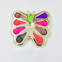 Tip of the Finger Pop Fidget Toy Flowers Butterfly Shape Party Favor Silicone Soft Stress Reliever Dimple Sensory Toys by sea LD61003