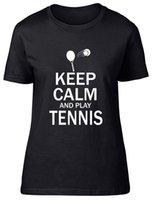 침착하고 테니스 장착 여성 숙녀 T 셔츠 남성용 티셔츠