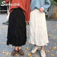 Surmiitro Uzun Pileli Etek Kadınlar Sonbahar Kış 2019 Moda Bayanlar Kore Yüksek Bel Siyah Beyaz Maxi Okul Etek Bayan J0118