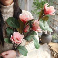 Decorative Flowers & Wreaths Creative Artificial Fake Leaf Magnolia Floral Wedding Bouquet Party Home Decor Decoration Accessories