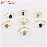 Anillos de racimo Borosa 10 unids Color Oval Oval Rainbow Drusy Anillos, ágatas de moda Titanium Druzy Bezel Ring para mujer Regalo de joyería ZG0289