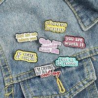 Esmalte Brooches Pin para Mujeres Moda Capa Camisa Demin Metal Divertido Broche Pines Badges Promoción Regalo Letra Elegir Happy645 T2