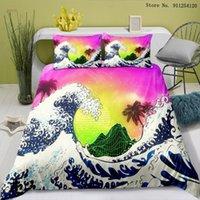 Literie Ensembles Ocean Wave Style Japonais Couvre-lit Simple Double Queen King Size Chambre Chambre à coucher de Prestige Taie d'oreiller