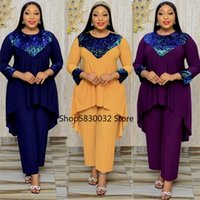Ethnic Clothing 2 Piece Set Africa Clothes African Dashiki Fashion Sequins Suit Top Trousers Super Elastic Party For Women Outfits 2021