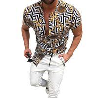 패션 망 빈티지 체인 프린트 비치 하와이 셔츠 열 대 여름 반팔 스탠드 업 칼라 단일 가슴 남성 의류 캐주얼 느슨한 버튼 아래로 셔츠