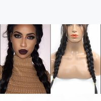 Natural 2# black Braided synthetic wig With Baby Hair Synthetic Lace Front Wigs Braided Box Braids Wig Long Glueless Heat Resistant Fiber