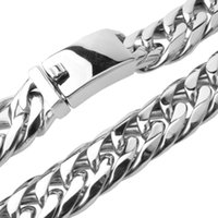 Chains Granny Chic 7-40 Inch Mens Chain Silver Gold Color Stainless Steel Necklace For Men Curb Cuban Link Hip Hop Jewelry
