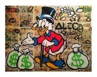 손으로 그린 낙서 팝 스트리트 아트 오일 페인팅 Daffy 오리 캔버스에 고품질 벽 아트 홈 데코 다중 크기 / 프레임 옵션 G213