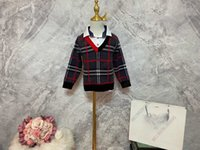 Diseñador de bebé Polón Pollo Sujetadores de punto negro BBR Cashmere Lana de béisbol Suéter de béisbol Chaqueta Niños Invierno Carta de impresión Diseño de diseño 100-150