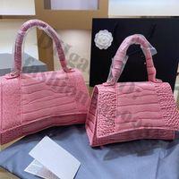 Marca HourGlass Totes Bolsos Mujer Cuero Cocodrilo Rosa Rosa Color Hombro Mano Bolsos Damas Moda Moda Moda Crossbody Bolsa Cross Cuerpo Diseñadores Bolso