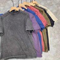 CP Topstoney 레트로 스트리트 스타일 남성 티셔츠 고품질 배지 간단한 짧은 소매 면화 물 씻어 오래 된 휴식 캐주얼 바닥