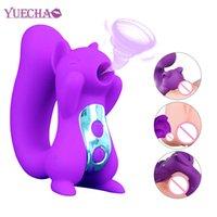 Yueechao Chupar vibrador Clit Clit Sucker Clítoris Estimulador Masturbador Dildo Nipple Licking Lengua Juguetes Oral Juguetes Sexuales Para Mujer Y201118