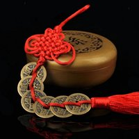 Ancien 1/2/3/5/6/6 Cuivre Monnaies Chinese Knot Art Arts et Artisanat Feng Shui Rishant Succès de Charme Lucky Charm Accueil Décoration de cadeau de voiture 5 Styles