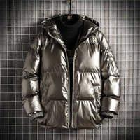 Winter Reflective Bright Face Hooded Men's Fashion Thickened Warm Down Cotton Padded Clothes Large Jacket