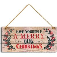 Christmas New Year Door Hanging Sign Wooden Xmas Tree Ornament Home Pendant Decorations Party Supplies LLD11096