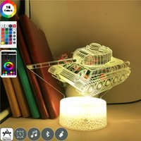 Lovely 3D Illusion Night Light LED Tank Model Acrylic Desk Lamp USB Touch Switch Nightlight Birthday Gift for Kids Room Party Decor