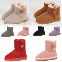 2021 Australia Fashion Mini Infant Button Classic Kids Snow Boots Chestnut Born Baby Small girl boys Thick Warm Cotton-Padded Suede ugg uggs Buckle Flats size 21-35