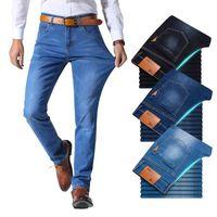 Brother Wang классический стиль мужчины бренд джинсы бизнес случайные стрейч тонкие джинсовые брюки светлые синие черные брюки мужские x0621