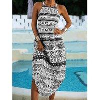 Casual Dresses Lady Temperament Dress 2021 Summer Fashion Print Sleeveless Loose Halter Neck Long Beach For Women