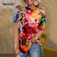 Женская футболка Vieunsta Multi-Color Fashion Design Sling Pheck 2021 Летние Женщины Галстук-Красивая Печать Сексуальная Безтепень Повседневная Короткая рукава
