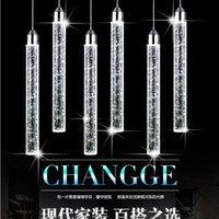 펜던트 램프 램프 LED 현대 미니멀리스트 버블 K9 크리스탈 교수형 조명 다이닝 룸 실린더 긴 튜브 높은 천장