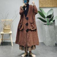 Women's Trench Coats 2021 Women Autumn Winter Loose Casual Long Tops Ladies Retro Coat V-Neck Button Big Pocket