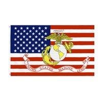 Marine Corps USMC-Flagge Große 3 x1,5 ft Fußadler Globus Anker Militär US-Flaggen Banner 90 * 150 cm Polyester mit Messing-Tüllen Home Garten Wand Boot Dekor