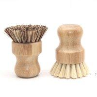 يده فرشاة خشبية جولة مقبض وعاء فرشاة سيسال النخيل صحن وعاء عموم تنظيف فرش المطبخ تجاريد فرك تنظيف أداة OWA4994