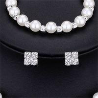 Forme la boda de la joyería nupcial de la joyería Pearl Party PROM Color de plata Pulsera de cristal Pendientes para las mujeres Conjuntos de joyería 1764 Q2