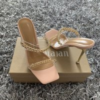 Летние женские сандалии квадратные носки дамы каблуки мулы прозрачные ПВХ прозрачные высокие каблуки тапочки женские модные цепные туфли женщины DH54U45J