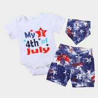 Clothing Sets Toddler Clothes Independence Day Outfit, Letter Print Short Sleeves Romper + Star Shorts Bib Suit For Baby Girls, Boys