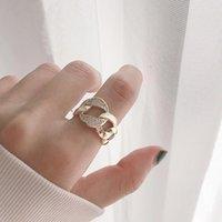 남성을위한 실버 및 골드 너비 조정 가능한 표면 오픈 손가락 반지 불규칙한 오목 볼록 펑크 쥬얼리 반지 선물 결혼식