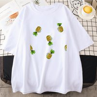 Fashion Pineapple Printed T Shirts Man Woman Summer Tees Mens Black White Angels Short Sleeves Clothes Size S-3XL