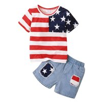 Boys Clothing Sets Boy Suit Child Kids Baby Outfits Summer Short-Sleeved T-Shirt Denim Jeans Shorts Two-Piece B6208