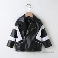 Tasarımcı Erkek PU Deri Ceket Çocuklar Siyah Beyaz Patchwork Renk Yaka Uzun Kollu Rahat Dış Giyim 2021 Sonbahar Çocuk Lokomotif Suit Giyim Q0797