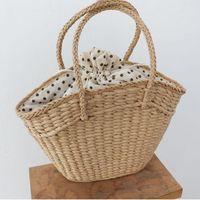 Evening Bags Fashion Rattan Women Handbags Wicker Woven Lady Shoulder Summer Beach Straw Bag Large Capacity Tote Dot Big Baskets Purses