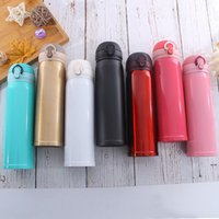 Thermos Cup 304 Stainless Steel Bouncing Cover Thermos Cup 500ml Student Portable Thermal Insulation Water Bottles HHA5257