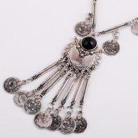 Vintage Silber Farbe Boho Tribal Münze Anhänger Fransen Gypsy Lätzchen Aussage Halskette Chokers