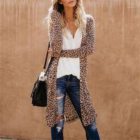 Casual Outono Inverno Streetwear Mulheres Manga Longa Cardigan Leopardo Quimono Shawl Loose Tops Blusa Casaco Casaco1