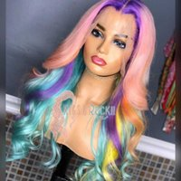Lace Wigs Sapphire Rainbow Ombre T Part Human Hair Pre Plucked Front Brazilian Body Wave Pink Colored Wig