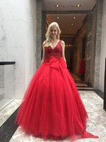 2021 Sexy Lace Red Evening Dresses Bow Ball Gown V Neck Floor Length Prom Gowns Holiday Party Wear