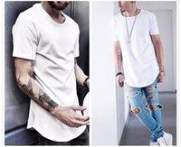Men's T Shirt Fashion Extended Street Style T-Shirt Men's clothing Curved Hem Long line Tops Tees Hip Hop Urban Blank Basic t Shirts Designer